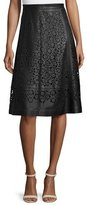 Zac Posen Laser-Cut Leather A-Line Skirt, Black
