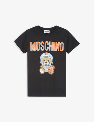 Moschino Football bear logo cotton-blend T-shirt 4-14 years