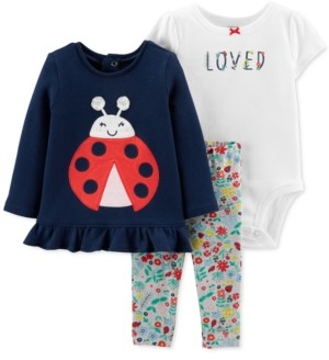 Carter's Baby Girls 3-Pc. Ladybug Top, Loved Bodysuit & Printed Leggings Set