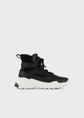 Emporio Armani Chunky High-Top Sneakers In Leather