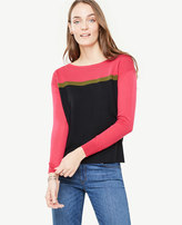 Ann Taylor Colorblock Extrafine Merino Wool Boatneck Sweater