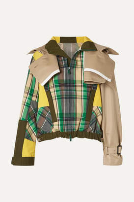 Sacai Oversized Cotton-blend Twill And Checked Poplin Jacket - Green