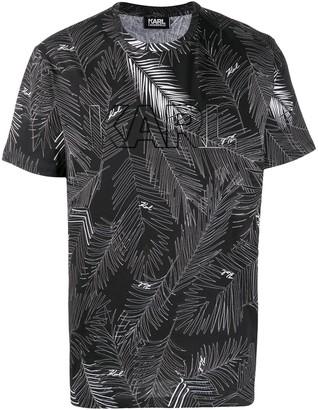 Karl Lagerfeld Paris palm leaf print T-shirt