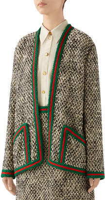 Gucci Tweed Web Relaxed Novelty Jacket With Web Trim