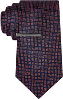 Jf J.Ferrar JF Navy Ground Abstract Tie With Tie Bar