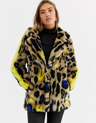 Urban Code Urbancode faux fur coat in bright leopard and stripe sleeve