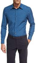 Ermenegildo Zegna Shadow-Plaid Cotton Shirt, Medium Blue