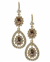 Marchesa Orbit Liner Goldtone Brass Drop Earrings