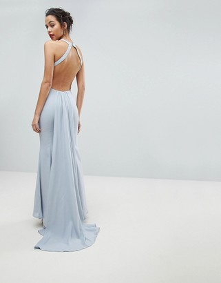 Jarlo Open Back Maxi Dress With Train Detail-Grey