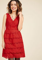 ModCloth Stately Satisfaction Lace Dress in Tomato in XL - Sleeveless Fit & Flare Knee Length
