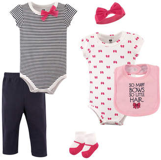 Hudson Baby Bodysuits, Pants, Socks, Bibs and Headbands, 6-Piece Set, 0-12 Months