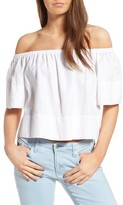 AG Jeans Women's Sylvia Off The Shoulder Linen Twill Top