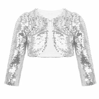 Kaerm Kids Girls Sequins Long Sleeve Bolero Shrug Jacket Princess Birthday Casual Party Wedding Cover Up