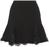 Oscar de la Renta Lace-trimmed Wool-blend Crepe Mini Skirt - Black
