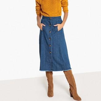 La Redoute Collections Buttoned Denim Midi Skirt