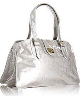 silver patent metallic leather 'Emperor' shoulder bag