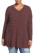 Sejour Stripe Knit Tunic (Plus Size)