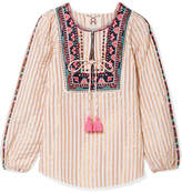 Figue Caraiva Embroidered Striped Metallic Cotton-blend Blouse - Ivory
