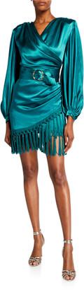 Bronx and Banco Monica Long-Sleeve Satin Wrap Dress with Fringed Hem