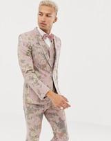 Asos Design DESIGN skinny suit jacket in printed pink floral wool mix