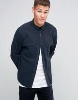 Asos Denim Overshirt With Acid Wash In Black