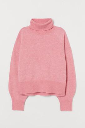 H&M Fine-knit Turtleneck Sweater - Pink