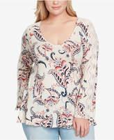 Jessica Simpson Trendy Plus Size Lace-Trim Top