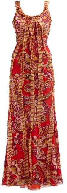 Etro Floral Print Silk Chiffon Maxi Dress - Womens - Red Multi