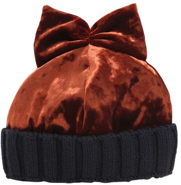 Federica Moretti Velvet & Wool Knit Beanie Hat W/ Bow