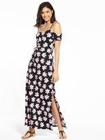 Very Cold Shoulder Jersey Beach Maxi Dress