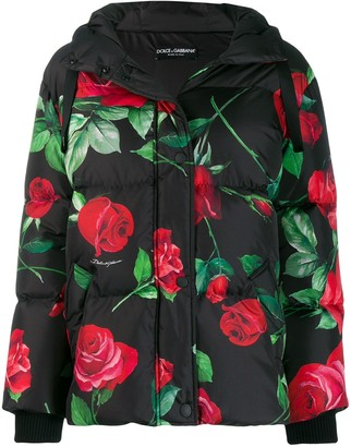 Dolce & Gabbana Hooded Floral-Print Down Jacket