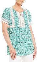 Intro Short Sleeve Floral Print Rayon Lace Top