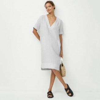 The White Company V-Neck Linen Dress, Pale Grey, 6