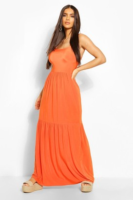 boohoo Tiered Strappy Maxi Dress