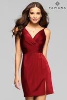 Faviana 7850 Short Satin V-Neck Cocktail Dress