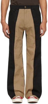 Youths in Balaclava Black and Beige Two-Tone Trousers