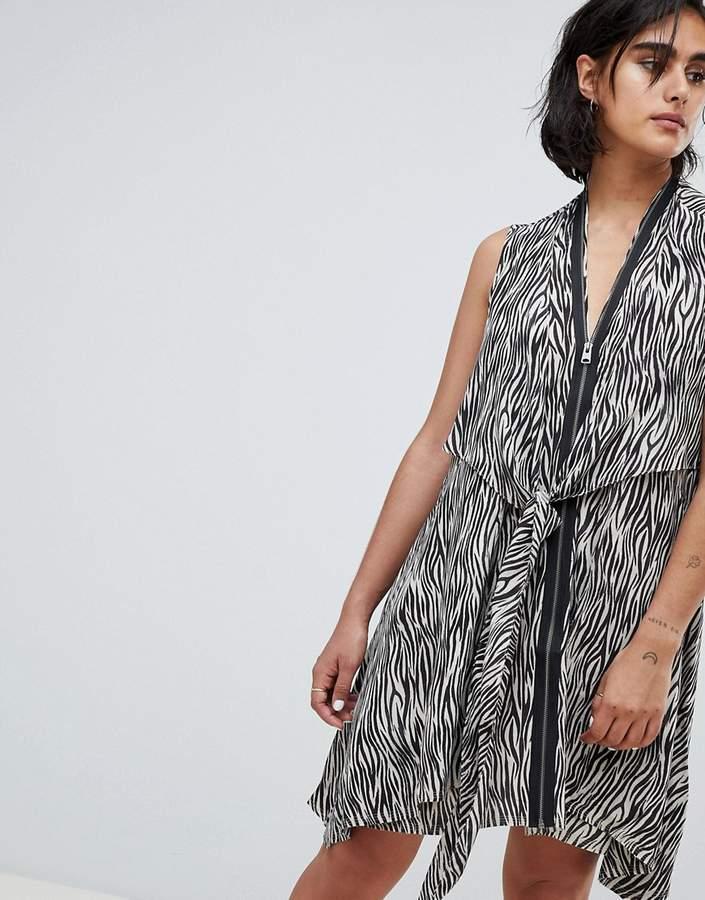 AllSaints Jayda Zebra Dress in Silk
