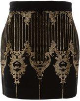 Balmain studded baroque pattern skirt