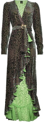 Pinko Leopard Pattern Belted Evening Dress