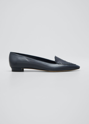 Manolo Blahnik Agos Leather & Snake Loafers, Navy