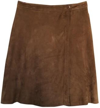 Henry Cotton Camel Leather Skirt for Women Vintage