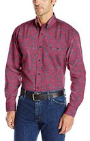 Wrangler Men's George Strait One Pocket Long Sleeve Burgundy Woven Shirt