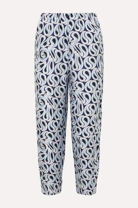 Marni Printed Silk-twill Tapered Pants - Blue