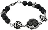 King Baby Studio 8mm Onyx Bead Bracelet with Carved Jet Rose and Silver Roses Bracelet