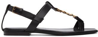 Saint Laurent Black Cassandra Flat Sandals