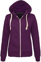 Cima Mode's Ladies Plus-Size Plain Hoodie Zip Jacket Sizes 6-20