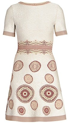 Alaia Textured Knit Short-Sleeve A-Line Dress