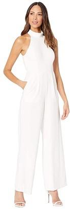 Calvin Klein Mock Neck Jumpsuit (Cream) Women's Jumpsuit & Rompers One Piece