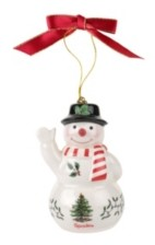 Spode Christmas Tree Snowman with Black Hat Ornament