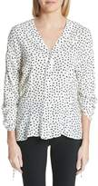Jason Wu Polka Dot Ruched Sleeve Silk Shirt
